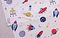 Сатин (хлопковая ткань) на белом планеты и ракеты, фото 2
