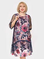 Женское платье большого размера с шифоновой накидкой. Размерный ряд 56, 58