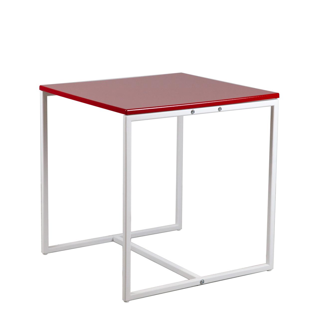 Commus стіл журнальний Куб 400 червоний/білий