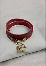 """Кожаный браслет-лента в три оборота с подвеской на застежке """"Крона"""". Цвет виноград"""