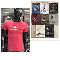 Мужская футболка 44-50 размера белого, черного, серого, хаки, синего, бордо, красного цвета с надписью оптом