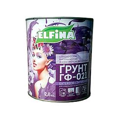 Антикоррозионная алкидная грунтовка Elfina Гф-021- для металла Светло-серый, 2.8кг