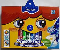 Фломастеры стираемые MARCO 24 цвета ТОЛСТЫЙ-JUMBO 1632-24