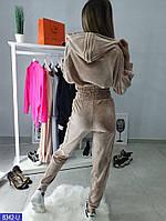 Мягкий бархатный спортивный костюм с укороченной кофтой