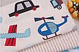 Сатин (хлопковая ткань) на голубом фоне машинки, вертолеты, самолеты, фото 3