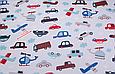 Сатин (хлопковая ткань) на голубом фоне машинки, вертолеты, самолеты, фото 2