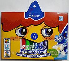 Фломастеры стираемые MARCO 12 цветов ТОЛСТЫЙ-JUMBO 1632-12
