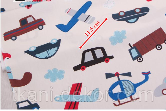 Сатин (хлопковая ткань) на беже машинки, самолеты, вертолеты