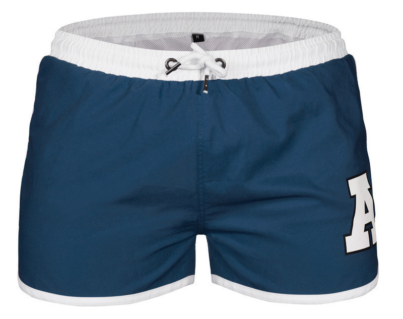 Купальные мужские шорты с белой окантовкой серо-синие опт