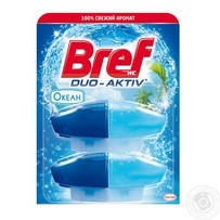 Средство для чистки и ароматизации унитаза Bref Duo-Aktiv жидкий блок Океан 2х50мл