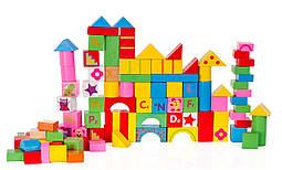 Детские деревянные кубики Doris 100 шт конструктор в ведре