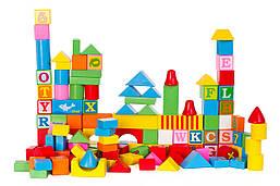 Детские деревянные кубики Doris конструктор в ведре 128 шт