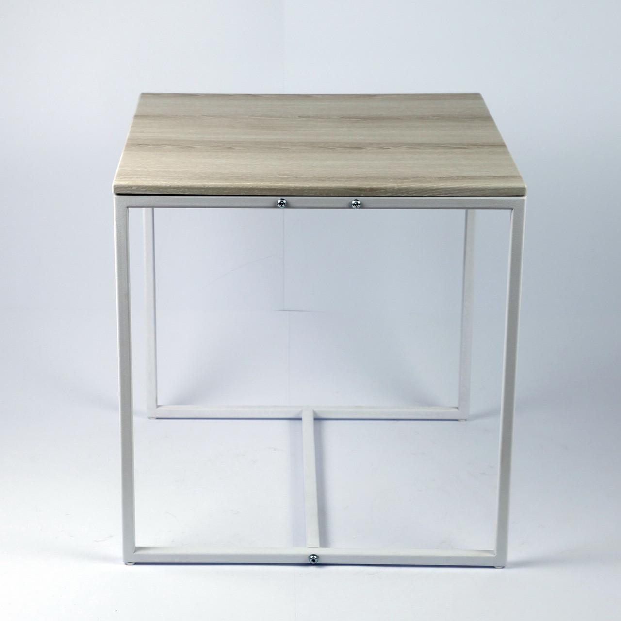 Стол журнальный Куб 450 Дуб пепельный / белый (Cub 450 pepel-white)