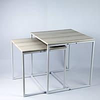 Комплект столов журнальных Куб 400 и Куб 450 - Дуб пепельный / белый (Loft Cub pepel-white), фото 1