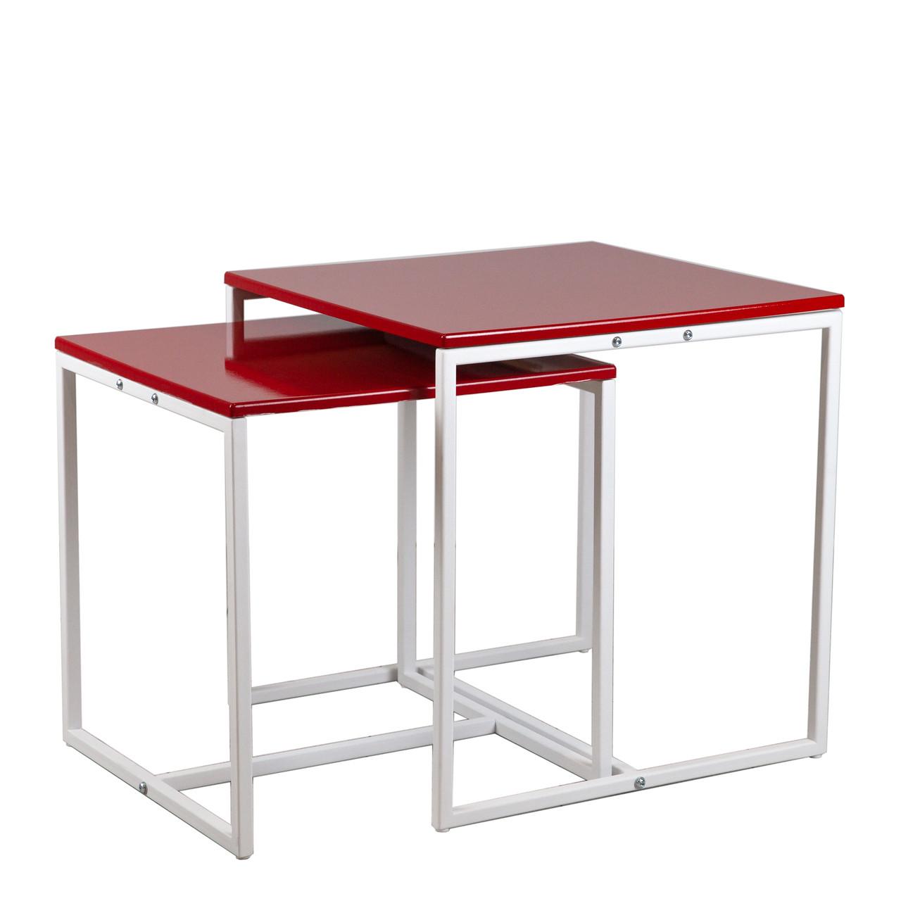 Комплект столов журнальных Куб 400 и Куб 450 - Красный / белый (Loft Cub Red-white)