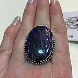 Кольцо чароит овальное кольцо крупное с чароитом 16 размер. Кольцо с камнем чароит Индия, фото 4