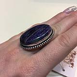 Кольцо чароит овальное кольцо крупное с чароитом 16 размер. Кольцо с камнем чароит Индия, фото 6