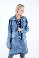 Удлиненная женская джинсовая куртка больших размеров