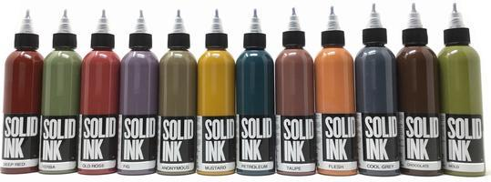 Сет (набор) краски SOLID INK OPAQUE 12 цветов по 1 унц (30мл)
