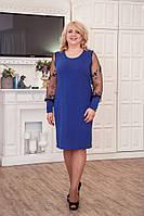 Трикотажное платье разных цветов с вставками большого размера ботал