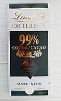 Черный шоколад Lindt exellence 99% какао 50гр (Франция)