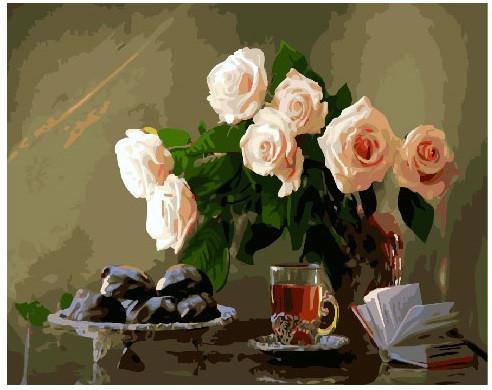 Картина по номерам Бежевые розы на столе, 40x50 см., Brushme