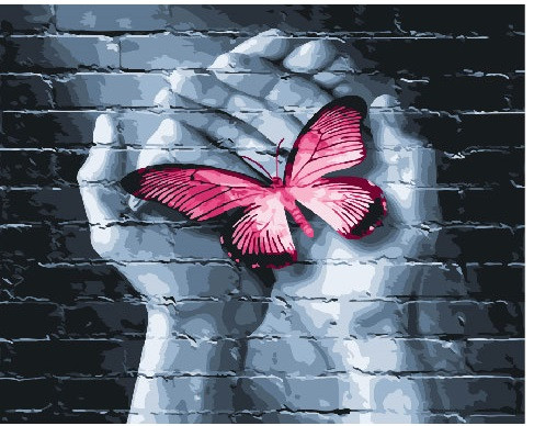 Картина по номерам Графити с бабочкой, 40x50 см., Brushme