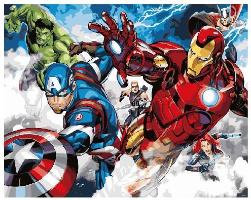 Картина по номерам Мстители в атаке, 40x50 см., Brushme