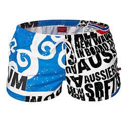 Купальные мужские шорты голубые с надписями