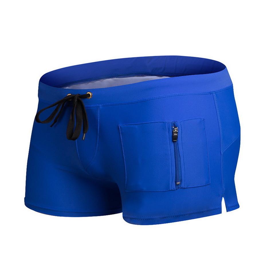 Мужские боксеры для плавания с карманчиком синие опт