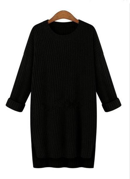 Зимний свитер туника однотонный черного цвета