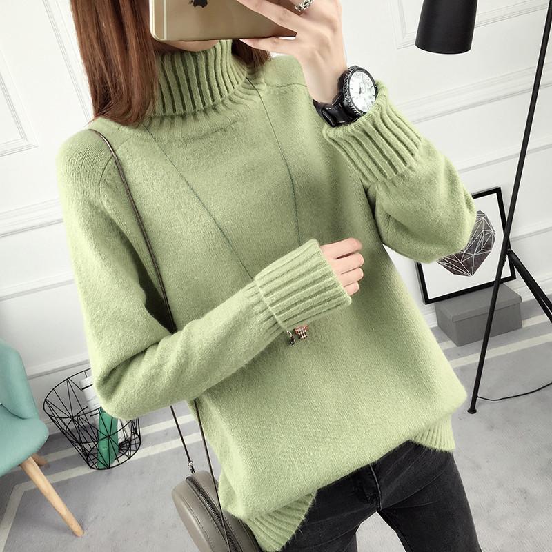 Женский однотонный свитер весна/осень с воротником зеленый