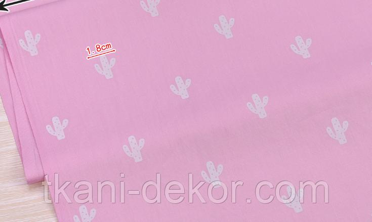 Сатин (хлопковая ткань)  на розовом фоне кактусы новые
