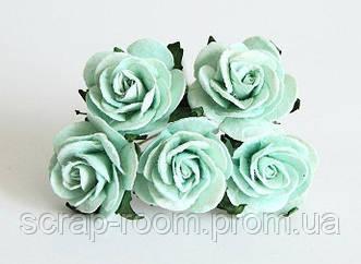 Роза бумажная мятная диаметр 2,5 см, роза мятная, бумажная роза мятная 2,5 см, бумажная роза, цена за 1 шт