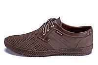 Мужские кожаные летние туфли, перфорация Batich latte, фото 1