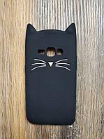 Объемный 3d силиконовый чехол для Samsung J1 2016 J120 Усатый кот черный