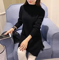 Удлиненный женский свитер-туника черного цвета опт, фото 1