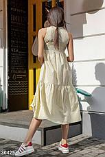 Плаття літнє довге вільне з котону дрібний горошок лимонне, фото 2