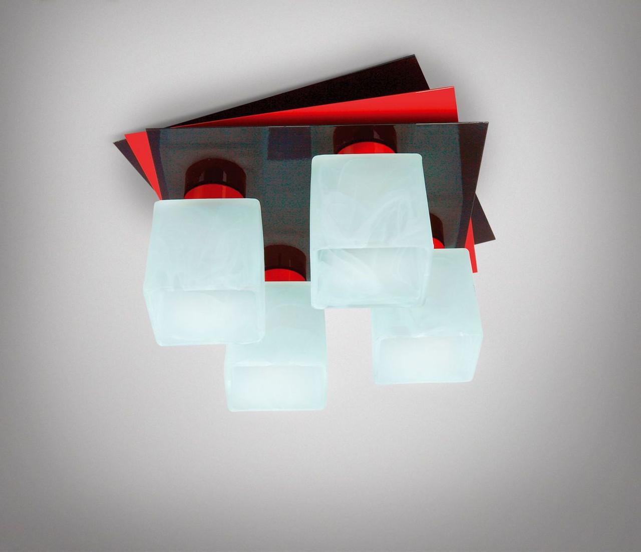 Люстра потолочная металлическая черно-красная 7433-2