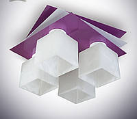 Люстра потолочная металлическая сиреневая для кухни, детской 7433-3