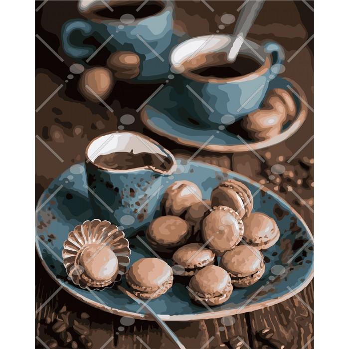Картина по номерам Макаруни до кави, 40x50 см., Идейка