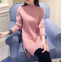 Женский теплый свитер-туника розовый, фото 1