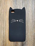 Объемный 3d силиконовый чехол для Xiaomi Redmi Note 5a Усатый кот черный
