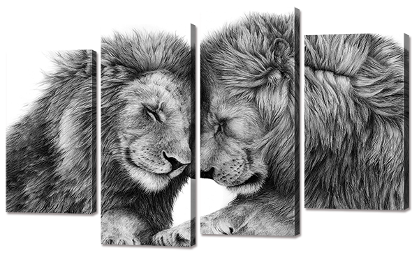 Модульная картина Interno Холст  Два льва  94x56см (R755S)