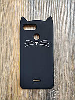 Объемный 3d силиконовый чехол для Xiaomi Redmi 6 Усатый кот черный