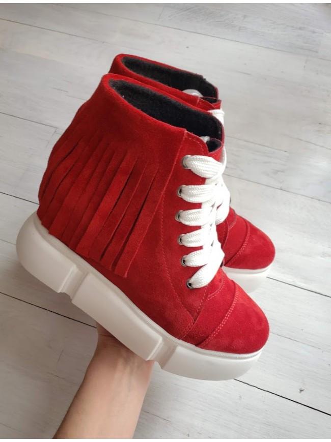Демисезонные ботинки (сникерсы) из натуральной замши красного цвета SAVANNA