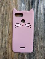 Объемный 3d силиконовый чехол для Xiaomi Redmi 6 Усатый кот розовый