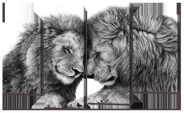 Модульная картина Interno Эко кожа Два льва 126x77см (A755L)