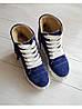 Демисезонные ботинки (сникерсы) из натуральной замши синего цвета SAVANNA, фото 2