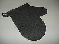 Рукавица банная фетровая серая